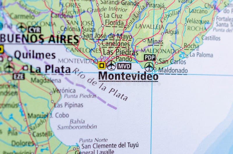Montevideo sulla mappa fotografia stock libera da diritti