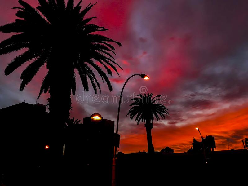 Montevideo Urban Sunset Scene royalty free stock photos