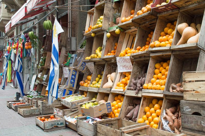 MONTEVIDEO, URUGUAY – OCTOBER 8, 2017: Fruit and vegetable stand in the city. stock image