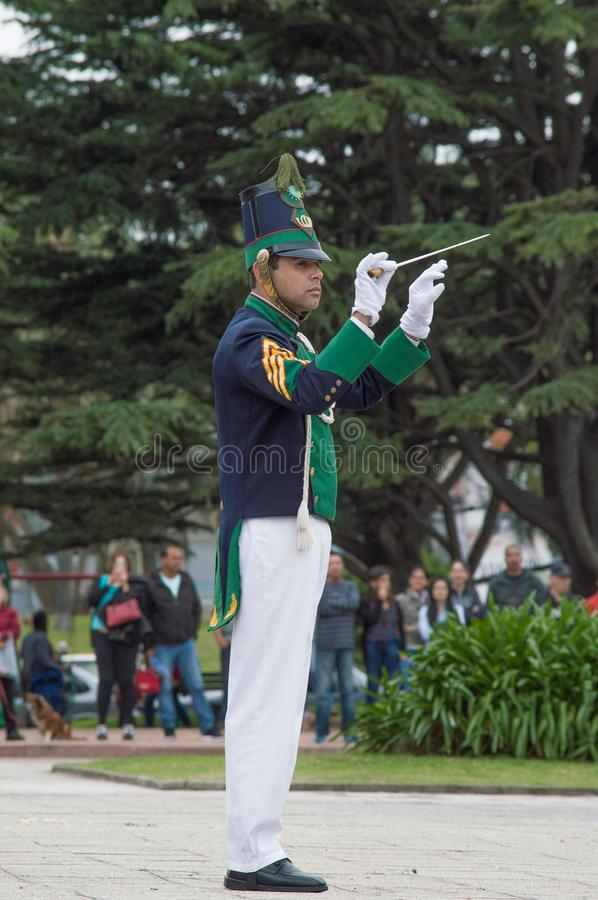 MONTEVIDEO, URUGUAY – OCTOBER 8, 2017: Orchestra conductor of battalion Florida. royalty free stock photo