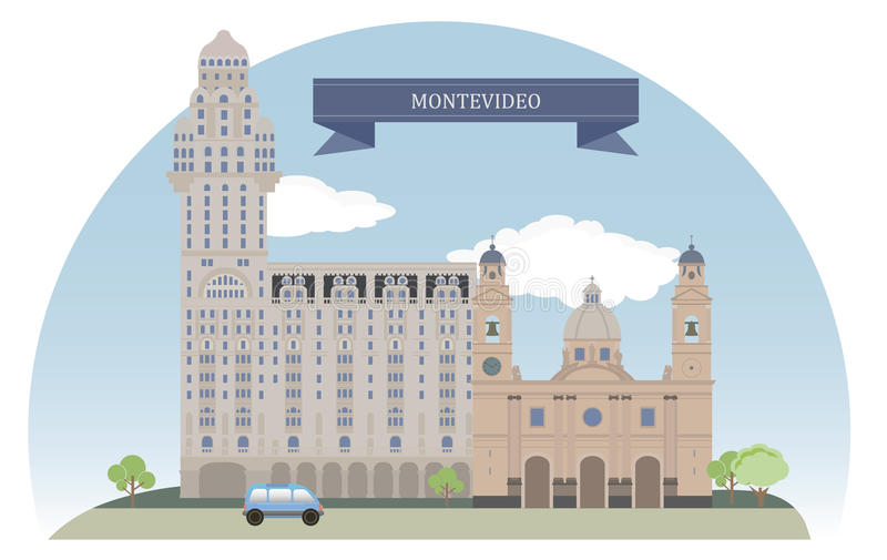 montevideo uruguay royaltyfri illustrationer