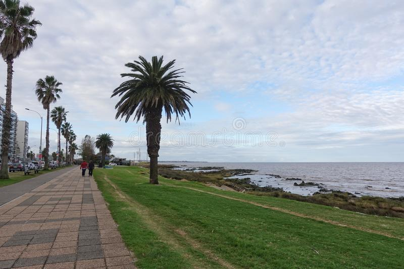 La Rambla in Montevideo, Uruguay. Montevideo/Uruguay-6/1/19: The La Rambla on a beautiful sunny winter day in Montevideo, Uruguay stock photo