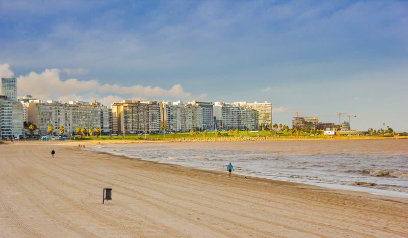 MONTEVIDEO, URUGUAY - 4 MAI 2016 : vue gentille du becah avec quelques bâtiments à l'arrière-plan situé dans la La d'Avenida photos stock