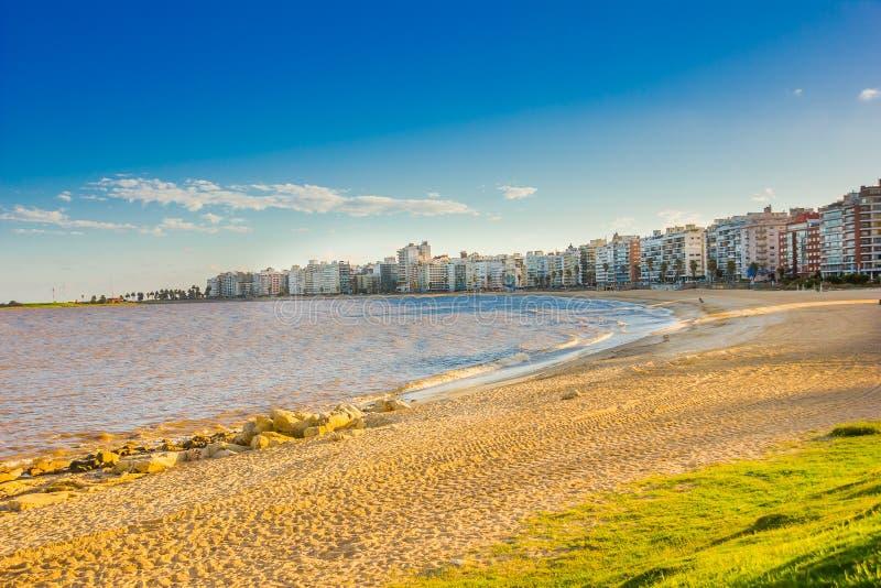 MONTEVIDEO URUGUAY - MAJ 04, 2016: trevlig solnedgång i stranden med några byggnader som bakgrund royaltyfri bild