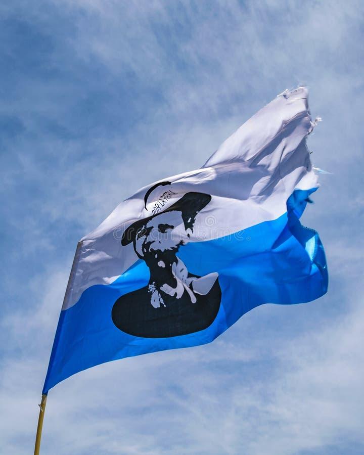 Aparicio Saravia Flag, Political Act Celebration, Montevideo, Uruguay royalty free stock photo