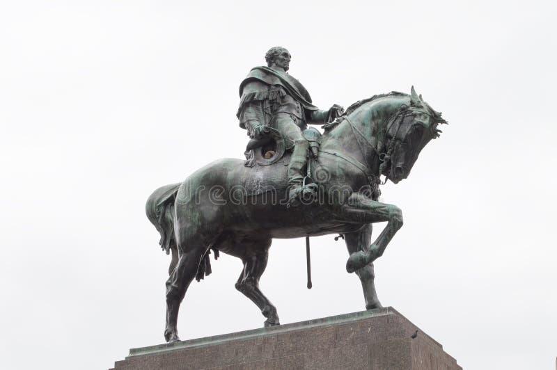 MONTEVIDEO, URUGWAJ †'PAŹDZIERNIK 8, 2017: Zabytek bohater narodowy Urugwaj, José Gervasio Artigas obraz royalty free