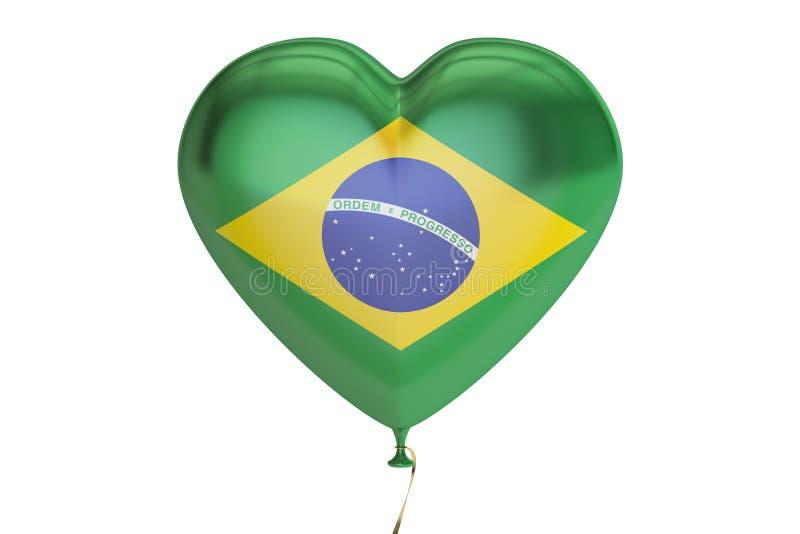 Montez en ballon avec le drapeau du Brésil sous forme de coeur, le rendu 3D illustration de vecteur