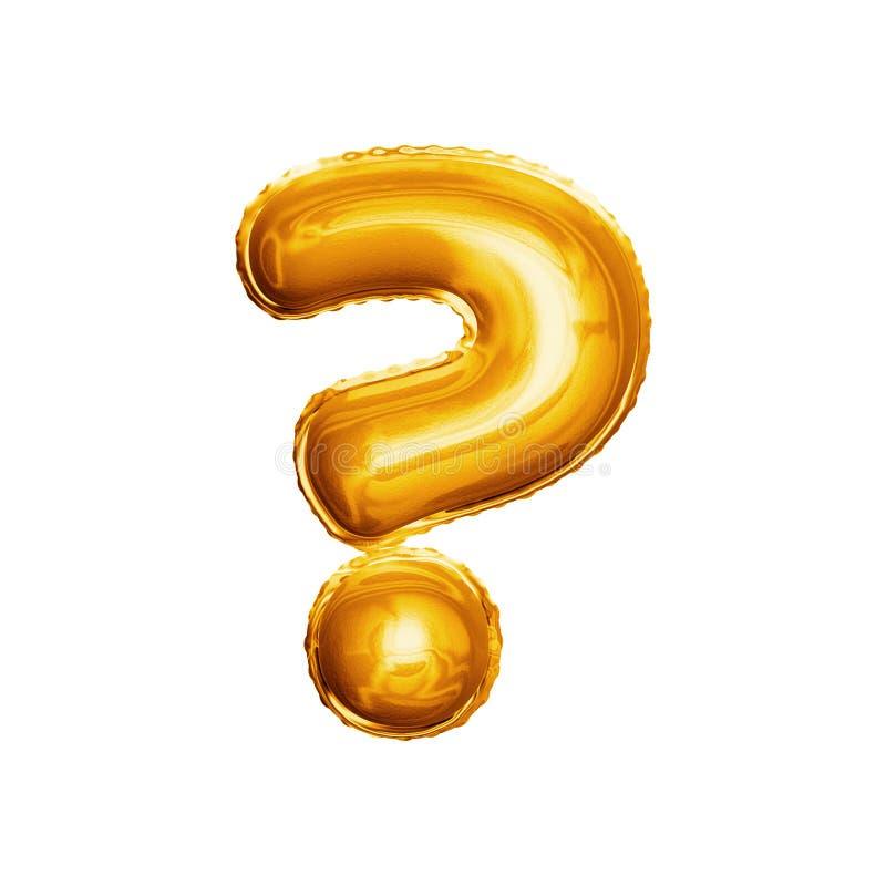 Montez en ballon l'alphabet réaliste d'aluminium d'or du point d'interrogation 3D photos libres de droits