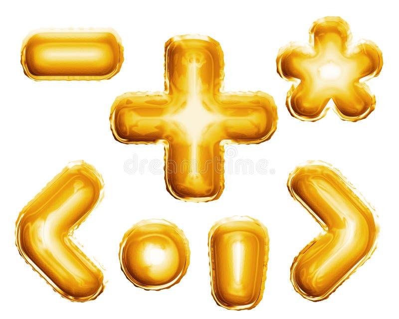Montez en ballon l'aluminium d'or des signes 3D de symboles d'alphabet réaliste illustration de vecteur