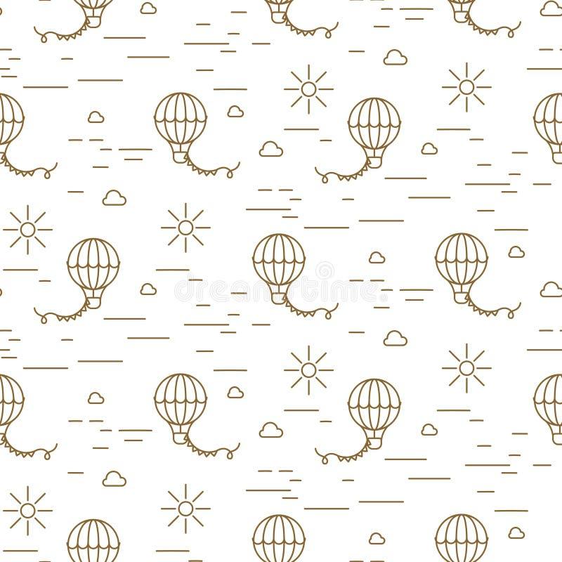 Montez en ballon la ligne simple or et modèle sans couture blanc de vecteur illustration stock