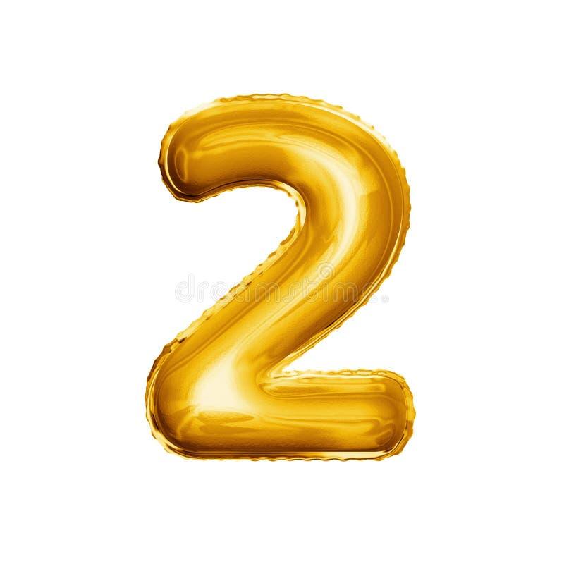 Montez en ballon le numéro 2 alphabet réaliste de l'aluminium deux 3D d'or photographie stock