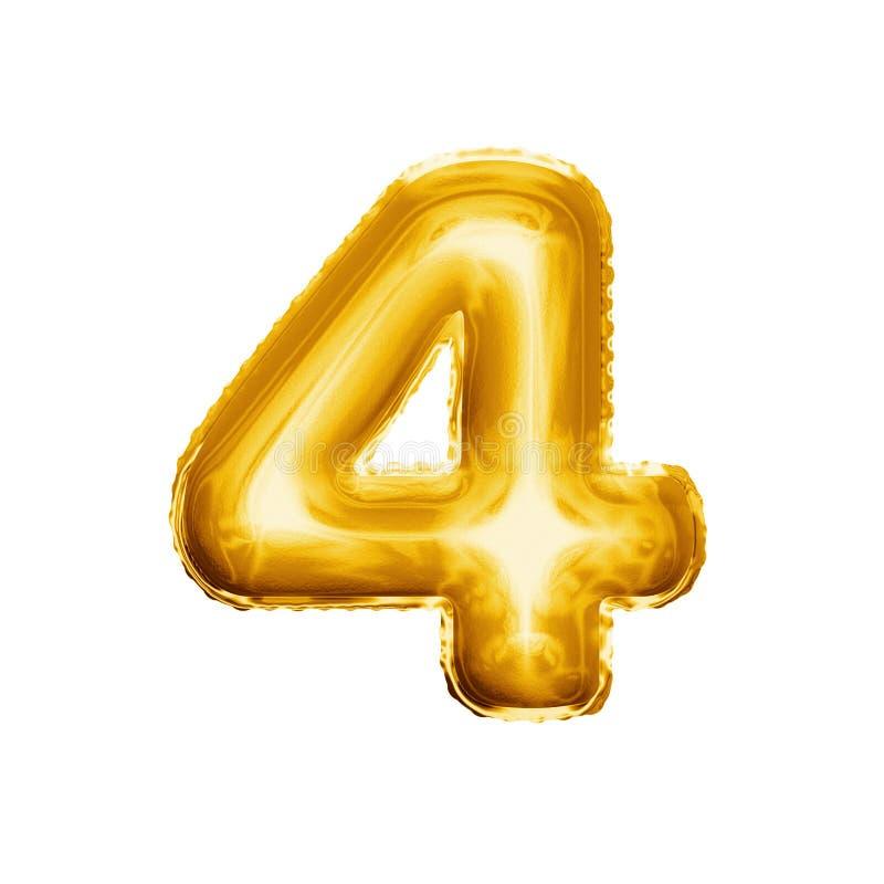 Montez en ballon le numéro 4 alphabet réaliste de l'aluminium quatre 3D d'or images stock