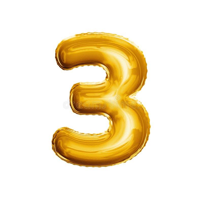 Montez en ballon le numéro 3 alphabet réaliste de l'aluminium trois 3D d'or images stock