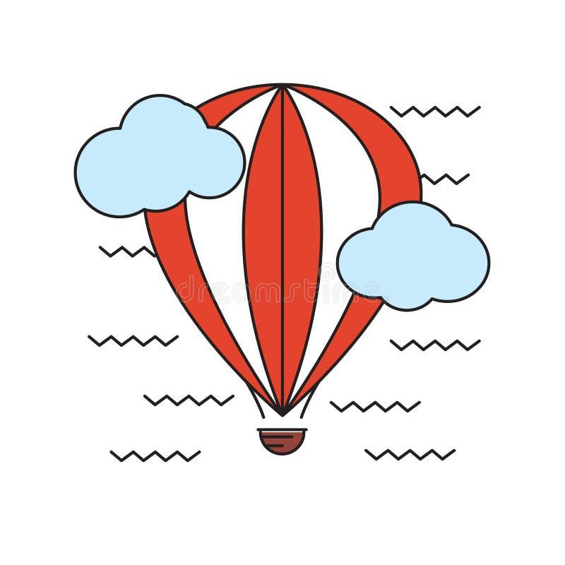 Montez en ballon le vol dans le ciel parmi les nuages aérostat illustration stock