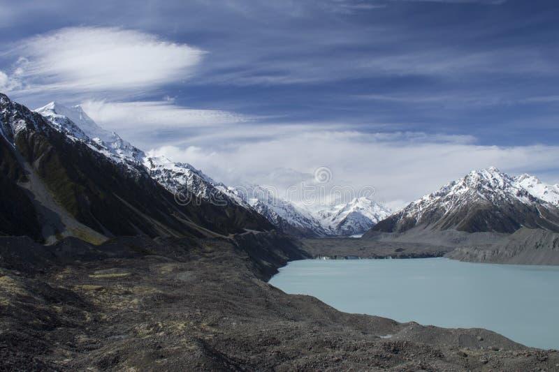 Montez le cuisinier/Aoraki, le glacier de Tasman et le lac Tasman, Nouvelle-Zélande photo libre de droits