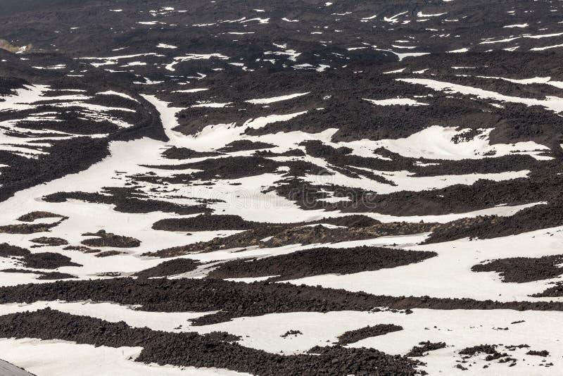 Montez le volcan l'Etna, cratère volcanique avec la neige rayée La Sicile, Italie images libres de droits