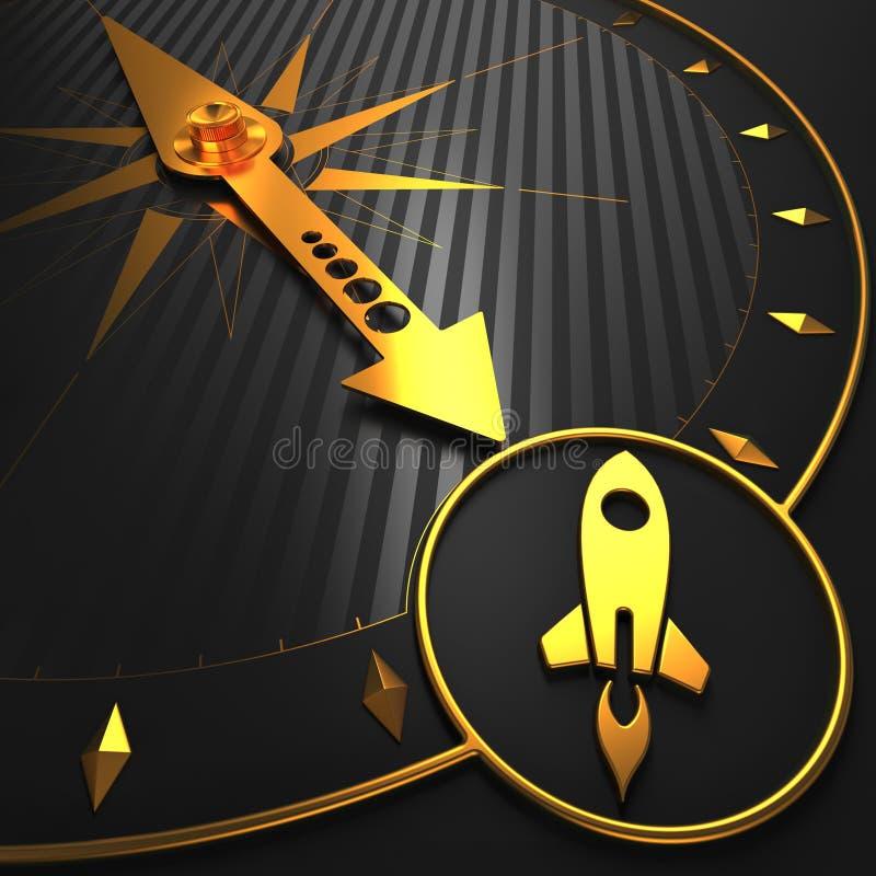 Montez Rocket sur la boussole d'or. illustration de vecteur