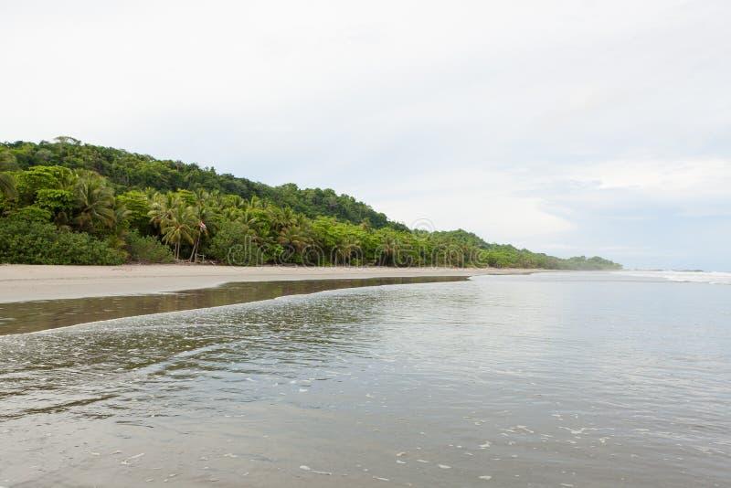 Montezuma aberto grande da praia da areia imagem de stock
