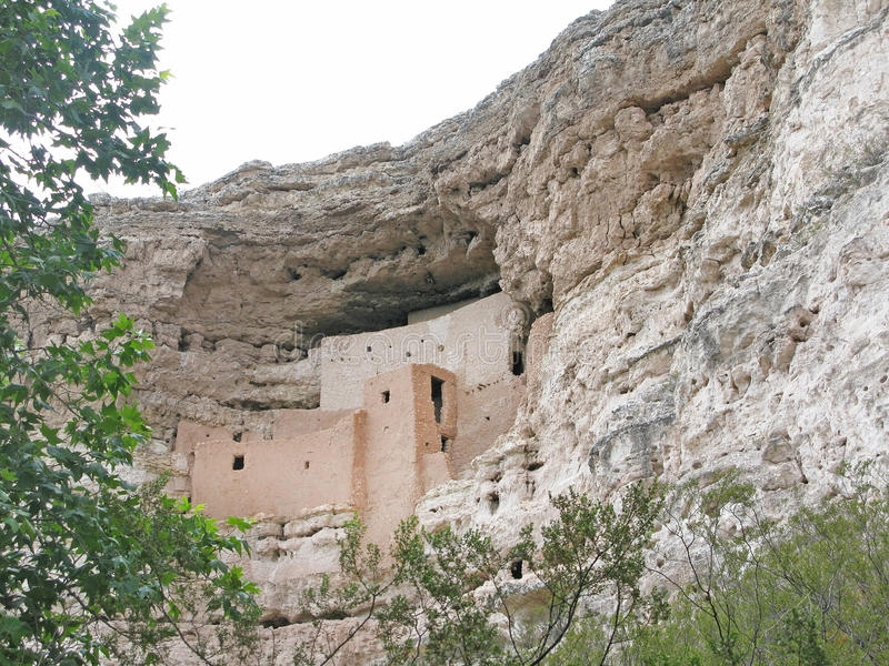Montezuma castle. Historic Indian dwelling in rocks near Camp Verde, Arizona, United States royalty free stock photography