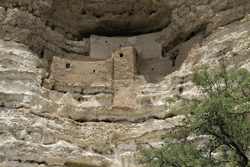 Montezuma Castle National Monument. Ancient Indian dwelling ruins near Camp Verde, Arizona, USA. The dwellings were built and used by the Sinagua people, a pre royalty free stock images