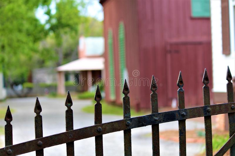 Montgomery, AL / United States - April 3 2019: The original buildings of Old Town show how the settlers of the 19th century lived. When they came to central stock photography