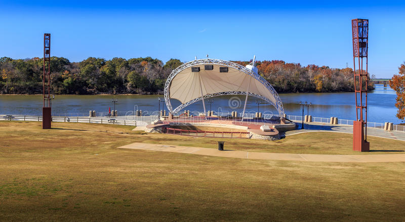 Montgomery, Alabama Amphitheater. A wide high angle view of the Montgomery, Alabama Riverfront Amphitheater with its back to the Alabama River stock photos