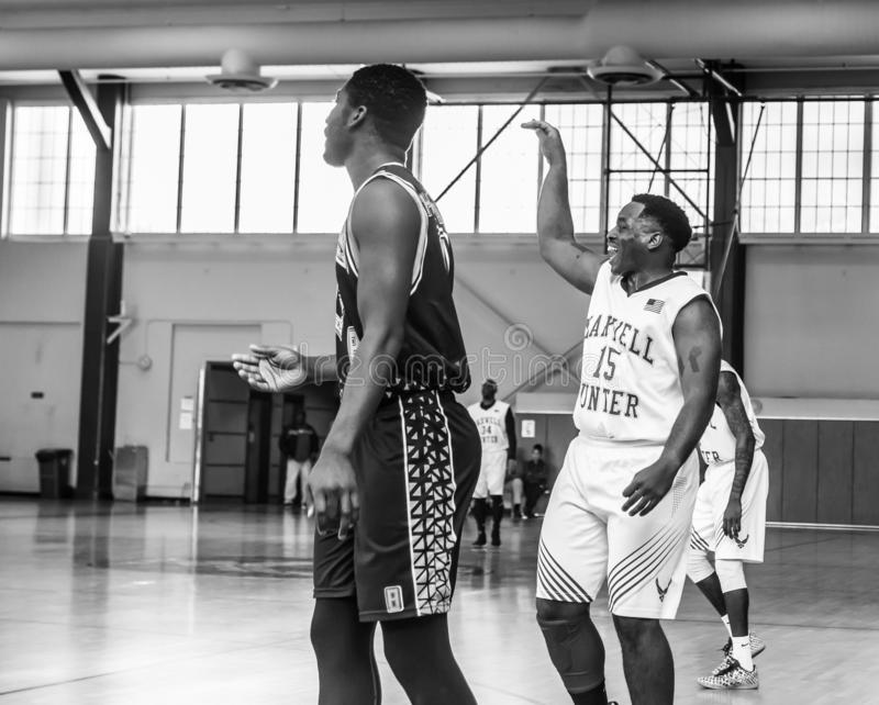 Maxwell Air Force Base Gunter Annex  Basketball Team Action Shots in Black and White. Montgomery, ALABAMA - JANUARY 26, 2019: Action shots of the Maxwell Air stock photos