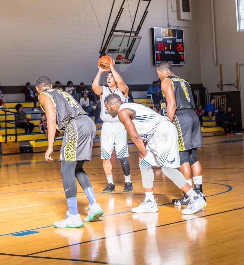 Maxwell Air Force Base Gunter Annex Basketball Team Action Shots. Montgomery, ALABAMA - JANUARY 26, 2019: Action shots of the Maxwell Air Force Base Gunter Annex royalty free stock image
