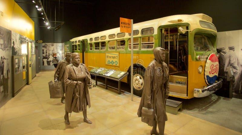 Montgomery Bus Boycott Exhibit dentro do museu nacional dos direitos civis em Lorraine Motel imagem de stock royalty free