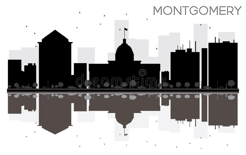 Montgomery City-Skylineschwarzweiss-Schattenbild mit reflecti stock abbildung
