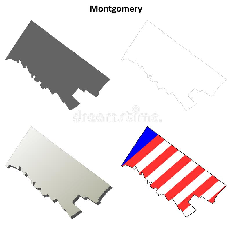 Montgomery County, grupo do mapa do esboço de Pensilvânia ilustração stock