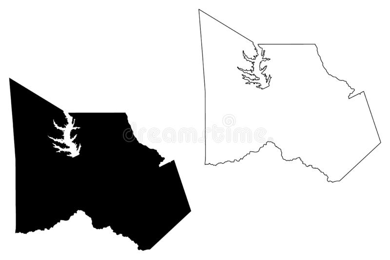 Montgomery  County, Texas Counties in Texas, United States of America,USA, U.S., US map vector illustration, scribble sketch. Montgomery map stock illustration