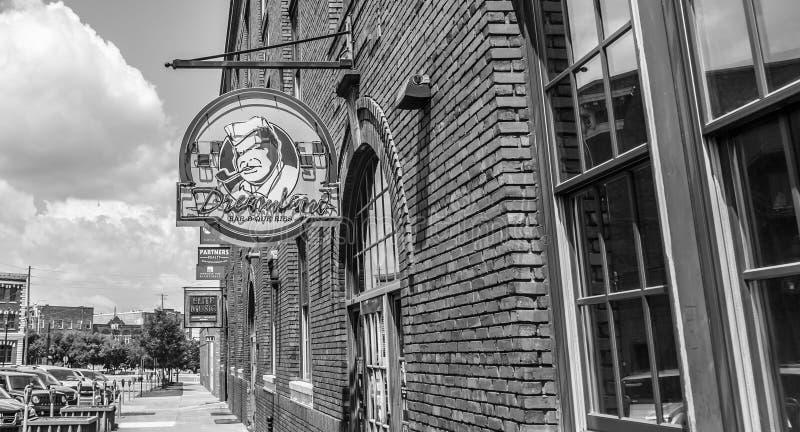 Montgomery du centre, Alabama, barbecue légendaire de pays des merveilles en noir et blanc images stock