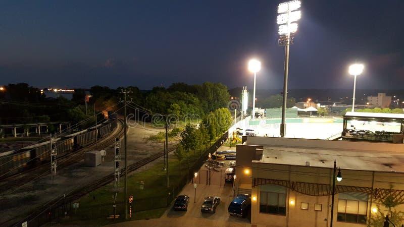 Montgomery Riverwalk Stadium and trains stock photos