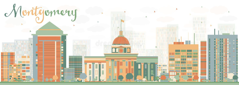 Montgomery Skyline abstrato com construções da cor ilustração stock