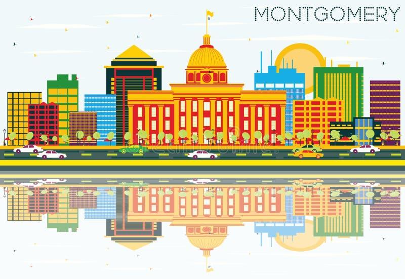 Montgomery Skyline avec les bâtiments de couleur, le ciel bleu et la réflexion illustration libre de droits