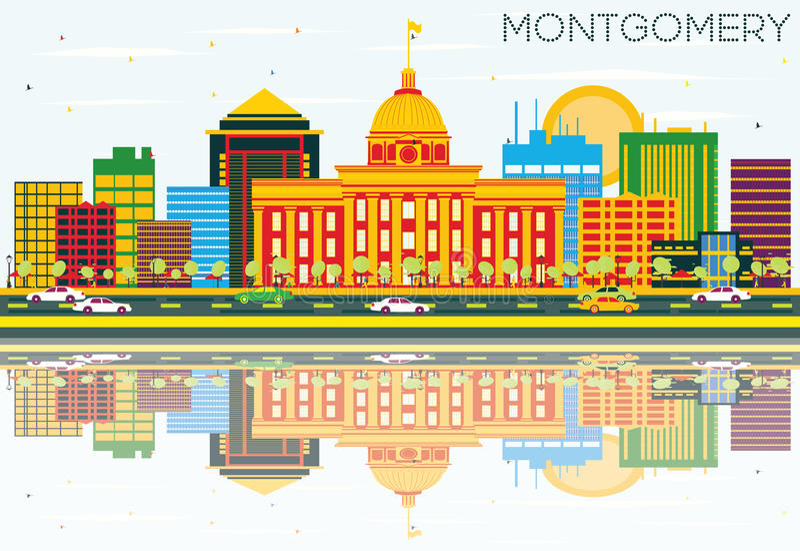 Montgomery Skyline com construções da cor, o céu azul e a reflexão ilustração royalty free
