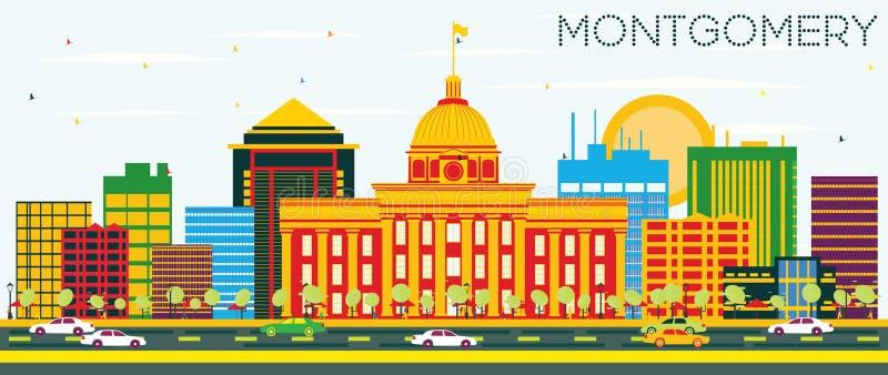 Montgomery Skyline med färgbyggnader och blå himmel royaltyfri illustrationer