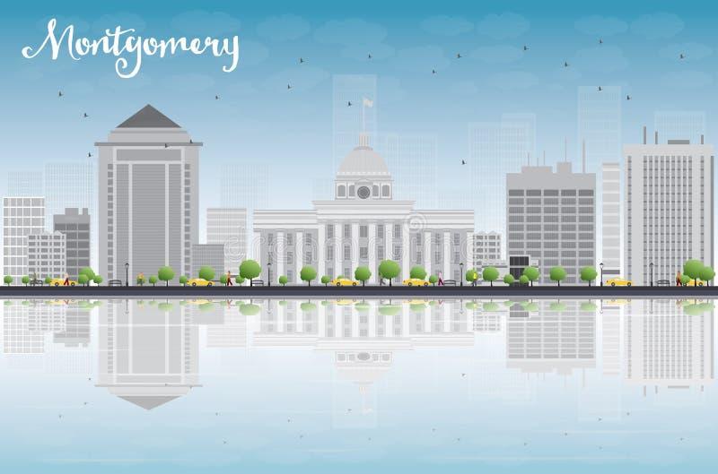 Montgomery Skyline med Grey Building, blå himmel och reflexioner vektor illustrationer
