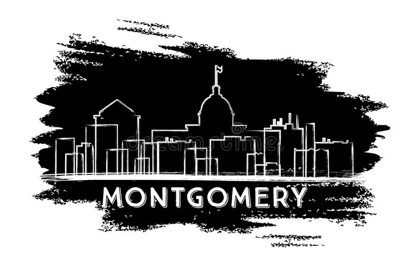 Montgomery Skyline Silhouette Esboço desenhado mão ilustração royalty free