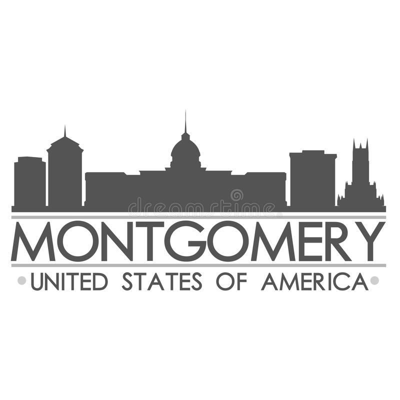 Montgomery Skyline Symbol Design City vektorkonst stock illustrationer