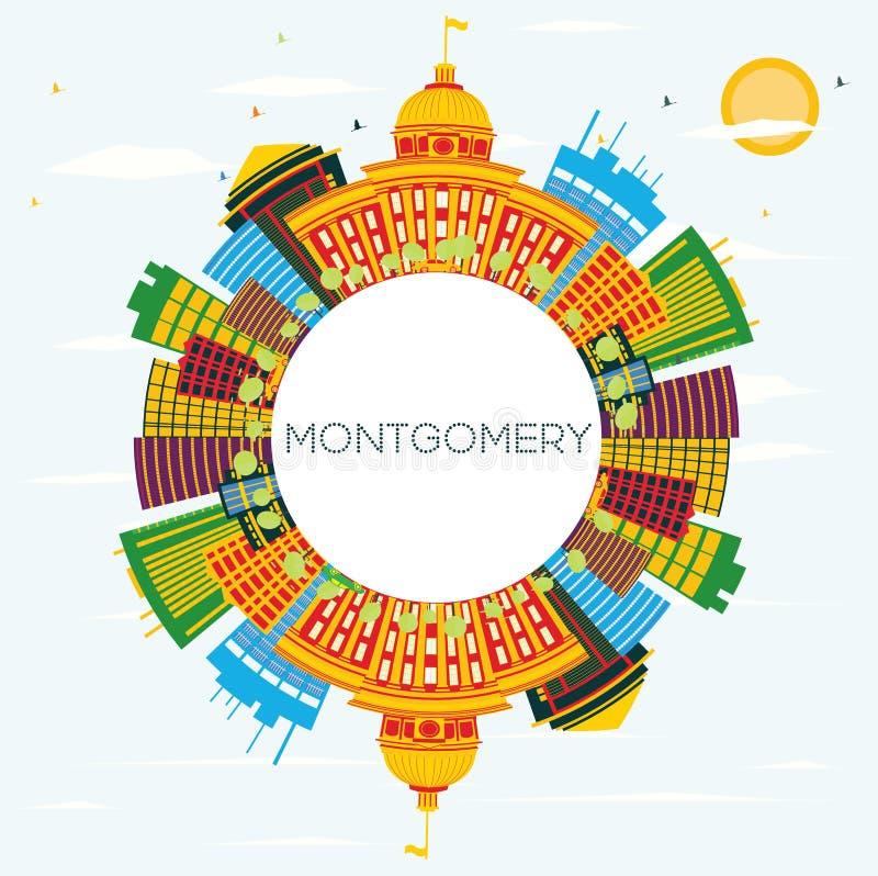 Montgomery USA horisont med färgbyggnader, blå himmel och kopia S vektor illustrationer