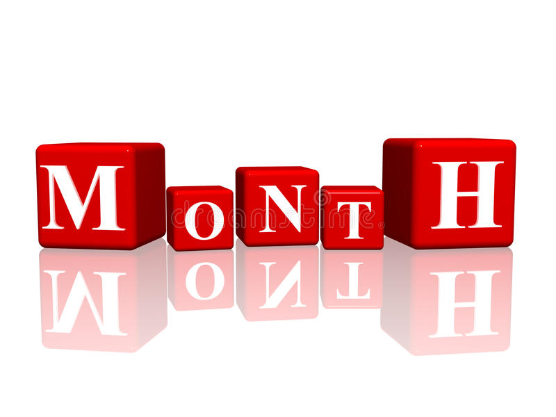 Month in 3d cubes vector illustration
