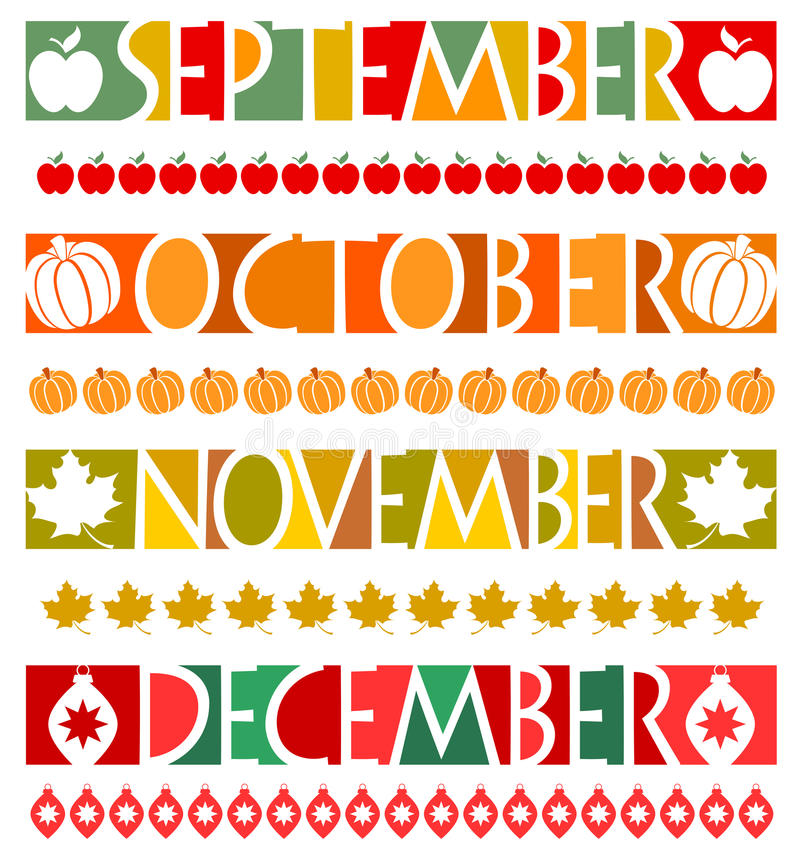 Month Banners and Borders/eps stock illustration