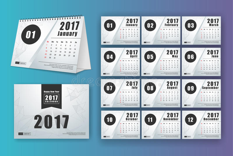 12 Month Desk Calendar Template Stock Vector Illustration Of Dark
