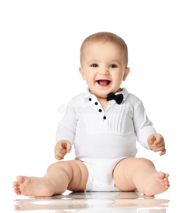 8 month infant child baby boy toddler sitting in white shirt and black tie isolated royalty free stock images