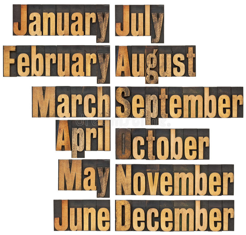 Month in letterpress wood type. 12 months from January to December - a collage of isolated words in vintage letterpress wood type blocks royalty free stock photos