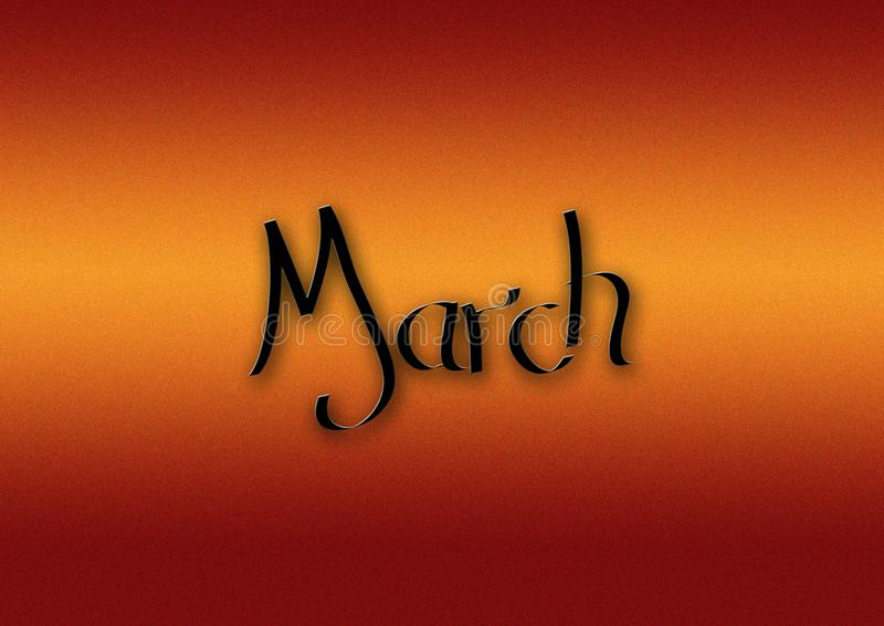 Month of March lettering background stock photography