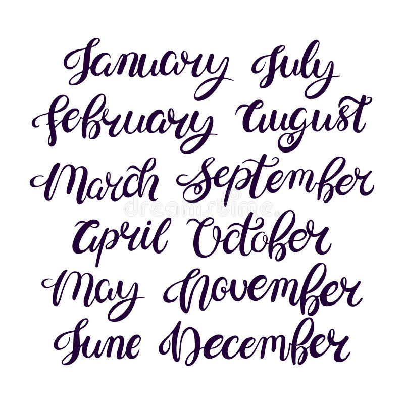 Month names of the year vector illustration