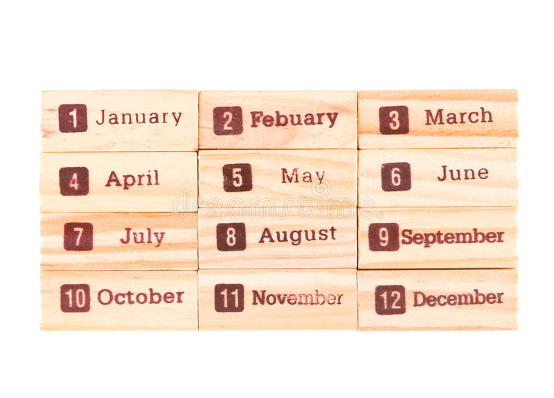 Month words print on wood texture. Twelve months in one year stock photography